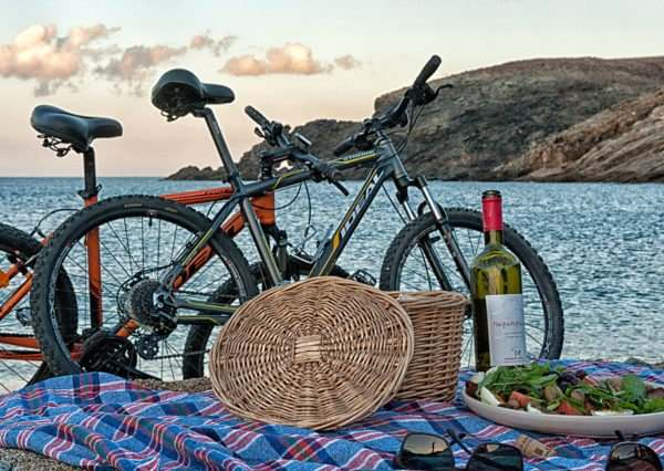 Bike and a taste of wine on Fokos Beach - Mykonos Island