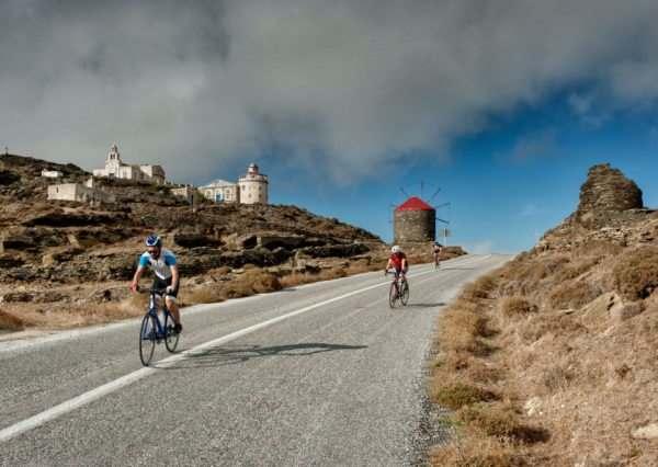 Cycling through Isternia Village - Tinos Island