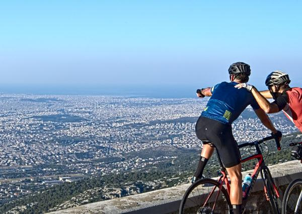 Overlooking the wide open view while climbing Mt. Parnitha - Road Cycling in Athens by GrCycling