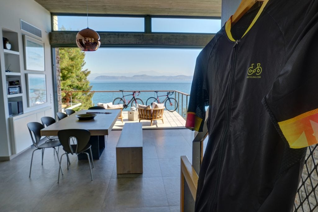 Cycling kits and two rental bicycles at the villa's interior with sea view